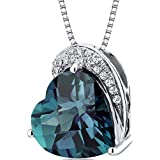Revoni Tilted Heart Shape 4.50 carats Sterling Silver Rhodium Finish Alexandrite Pendant