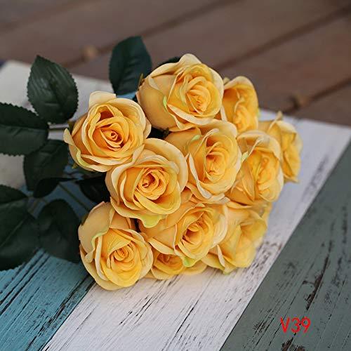 Jun7L Künstliche Seide Rosen Blumen Gefälschte Braut Brautjungfer Blumenstrauß für Hausgarten Hochzeit Dekoration, 12 Kopf, 40 cm Gelb A 40x6cm (Seide Blumen Rosen Gelb)