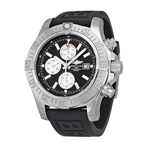 Breitling Super Avenger II chronographe automatique Cadran noir en caoutchouc Noir pour homme