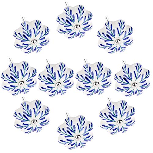 FBSHOP(TM) Blau und weiß Keramik Knöpfe Keramik Türgriffe Küchenschrank Knöpfe Schublade Zieht Schlafzimmer Türknauf -Set von 10