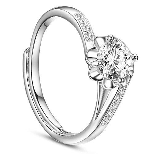 Sweetiee anello 925 argento micro zirconia mosaicata, fiore bianco con zirconia aaa platino, 17mm, regolabile