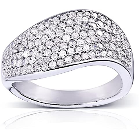 Anello con pavé di diamanti, 3/5 CT (ctw) in oro bianco 10 K - 10k White Gold Diamond Band