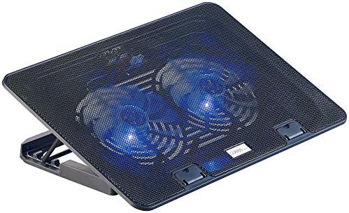 """Callstel Laptop Lüfter: Ultraleiser Notebook-Kühler bis 43,8 cm (17\""""), 2 Lüfter, LED, 15 dB (Kühler für Laptop)"""