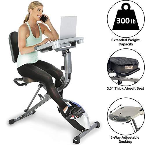 Exerpeutic WORKFIT 1000 Klappbarer Liege-Heimtrainer mit verstellbarer Arbeitsfläche. Trainieren Sie während Sie arbeiten! Schwarzgrau, One Size