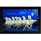 SAF 7973 ISeven Running Horses||vastu Painting For Home And Office||Seven Lucky Running Horses Painting || 7 Horses Painting ||seven Horses||vastu Horses||Shyam Art 'N' Frame Exclusive Framed Wall Art Paintings(Wood,35cmx 2Cmx 50Cm Framed Painting)