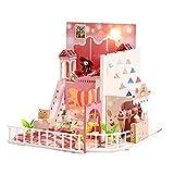 Puppenhaus Bausatz- Kindheit träumen - Mit LED-Leuchten,DIY Spielzeug Traumhaus,Miniatur Puppenhaus