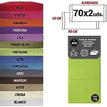 ADP Home - Funda de almohada lisa 144 hilos (pack de 2 ud. De 70 cm), verde