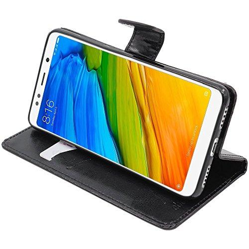 ebestStar - Funda Xiaomi Redmi 5 Carcasa Cartera Cuero PU, Funda Libro Billetera Ranuras Tarjeta, Función Soporte, Negro [Aparato: 151.8 x 72.8 x 7.7mm, 5.7'']