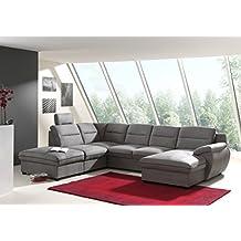 mobilier deco canap dangle panoramique convertible tissu gris coffre de rangement - Canape Panoramique Convertible