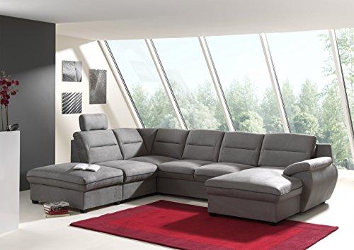 Canapé d'angle panoramique convertible tissu gris + coffre de rangement