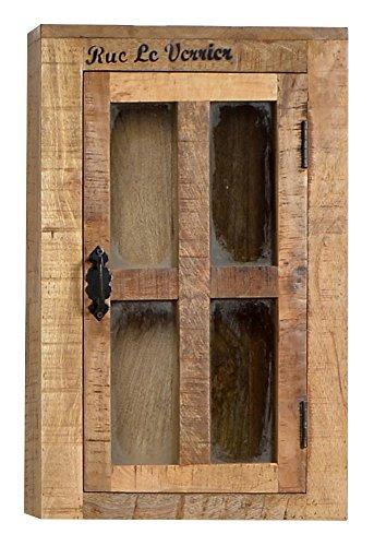 Sit-möbel 1902-02 - armadietto pensile in legno di mango, stile rustico e finitura anticata, con anta in vetro, 44 x 21 x 70 cm