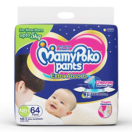 MamyPoko One Size Pants for New Born, 64 Count