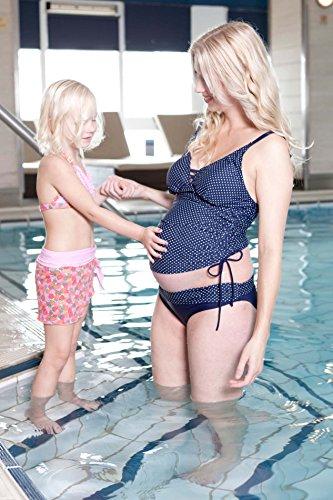 PETIT AMOUR AVA raffiné deux pièces Tankini- Set Tankini de grossesse Mode de baignade pour femmes enceintes À pois sur bleu marine