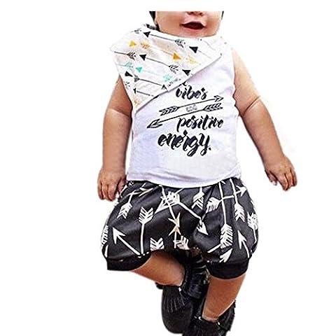 Bekleidung Longra Baby kinder Junge Drucken Ohne Arm t-shirt Tops + Shorts Sommer Outfits Kleidung Set (0-24Monate) (70CM 0-6Monate, White)