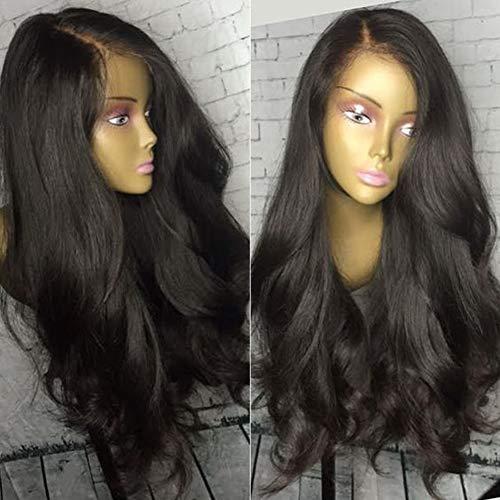 PKQ® Perücken Damen, 100% Echte Human Hair Vordere Spitze Perrücke Frauen Lang Wellig Locken Menschliche Haar Perücke Long Gelockt Front Lace Wig Curly Haarteile - Kostüm Brasiliano