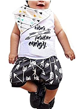 Bekleidung Longra Baby kinder Junge Drucken Ohne Arm t-shirt Tops + Shorts Sommer Outfits Kleidung Set (0-24Monate)