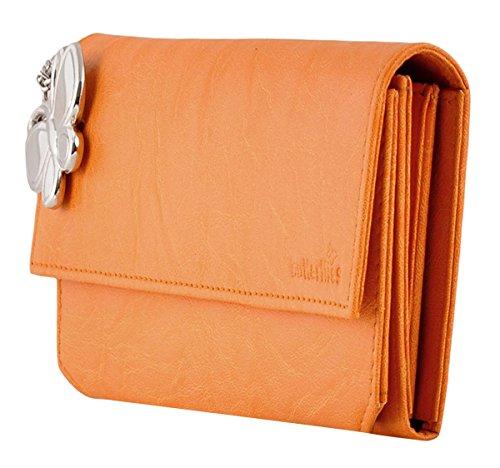 Butterflies Fauxleder Frauen-Mappen-Geschäft Organisatorbeutel Des Multi-Card Orange