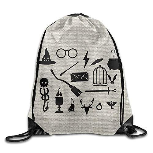 Harry Potter Cartoon Logo Bag Shoulder Drawstring Backpack