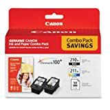 Canon 2973B004 Inks & Paper Pack, Pgi-210Xl, Cl211Xl, 2 Inks & 50 Sheets 4 X 6 Paper by Canon