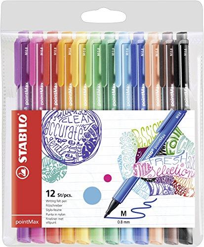 STABILO Filzschreiber - pointMax - 12er Pack - mit 12 verschiedenen Farben