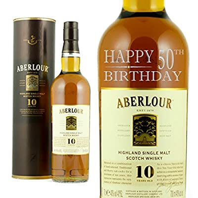 Happy 50th Birthday Engraved Bottle Of Aberlour Whisky 70cl