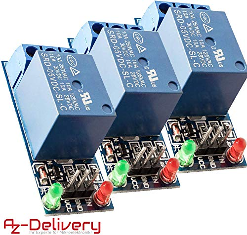 AZDelivery 3 x 1-Relais 5V KF-301 Modul Low-Level-Trigger für Arduino