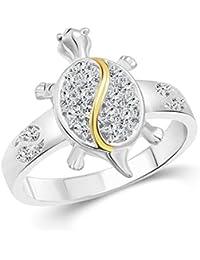 Vighnaharta Tortoise CZ Rhodium Plated Alloy Gents Ring for Boys and Men - [VFJ5006FRR]