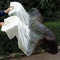 xiangshang shangmao One pair 1.5m/1.8m Belly dance bamboo fan Dance fan Square fan dance dancing fan White-Gray-Black 1.5m