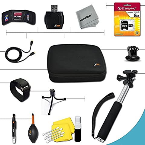 Xtech® Essential 15 piece Accessory Kit for GoPro HERO4 Hero 4, GoPro Hero3+, GoPro Hero3, GoPro Hero2, GoPro HD Motorsports HERO, GoPro Surf Hero, GoPro Hero Naked, GoPro Hero 960, GoPro Hero HD 1080p, GoPro Hero2 Outdoor Edition Digital Cameras Includes a Hand Held Monopod with a GoPro tripod mount + 8GB High Speed Memory Card + Well Padded Camera Case + Gold plated HDMI Cable + Remote Wrist Strap + Universal Card Reader + Mini Table Tripod + Ultra Fine HeroFiber Cleaning Cloth