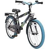 BIKESTAR Premium Sicherheits Kinderfahrrad 20 Zoll für Jungen ab 6-7 Jahre ★ 20er Kinderrad Modern ★ Fahrrad für Kinder Schwarz & Blau