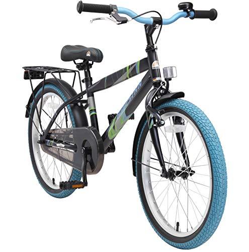 BIKESTAR Kinderfahrrad 20 Zoll für Jungen ab 6-7 Jahre | 20er Kinderrad Modern | Fahrrad für Kinder Schwarz & Blau - 20 Ständer Fahrrad Zoll Kinder