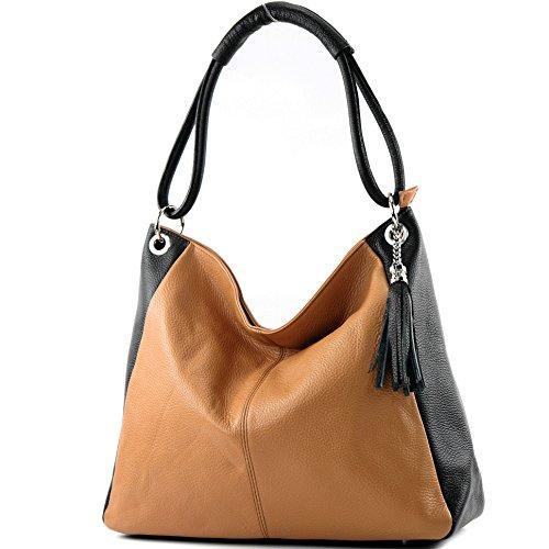 modamoda de - ital. Ledertasche Shopper Damentasche XL DIN A4 Schultertasche Leder T165, Präzise Farbe:Camel/Schwarz