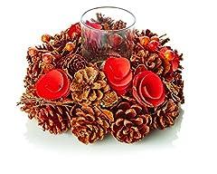 Idea Regalo - Corona di Pinecone da 25cm Con Un Portacandele - Perfetto Centrotavola Questo Natale