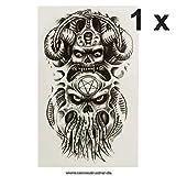 Krake Monster Teufel Pentagram Octopus AX107 - Tatuaje Falso Temporal, Color Negro, Negro, 1 x Krake Tattoo
