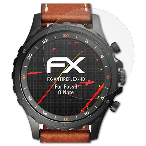 atFoliX Schutzfolie kompatibel mit Fossil Q Nate Bildschirmschutzfolie, HD-Entspiegelung FX Folie (3X)