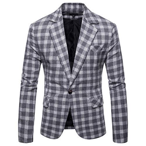 Kostüm Cola Dose - Aoogo Mens Casual Plaid Business Hochzeitsanzug Revers Slim Fit Outwear Blazer Mantel Tiefem V-Ausschnitt Einfache Temperament Business Office TäGliche Jacke