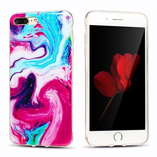 iphone 7 plus Hülle, Marmor Design Muster TPU Dünn Silikon Schutzhülle für iphone 7 plus , E-lush Kristallklar Durchsichtig Kratzfeste Handyhülle Ultra Chic Thin Weich Schutzhülle Rückschale Etui Bump Rot und blau