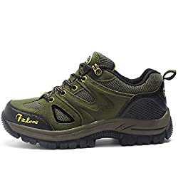Botas de Senderismo Impermeables para Hombre,de Ocio al Aire Libre Zapatos de Deporte Zapatillas de Senderismo(EU 42,Army Green)