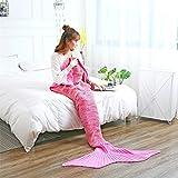 Nachahmung Kaschmir Meerjungfrau Decke Garn Stricken Meerjungfrau Schwanzdecke Winter Sofa Decke,Pink-140*70cm