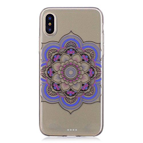 Cover per iPhone X Silicone Case , YIGA Moda Blu Dreamcatcher Cristallo Trasparente Cover Cassa Silicone Morbido TPU Case Caso Shell Protettiva Custodia per Apple iPhone X (5,8) FD61