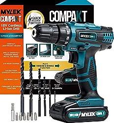 MYLEK MY18VCB  18V Cordless Driver-Lithium Ion Drill Set-13 Piece Combi Accessory Kit-LED Worklight, 18 V