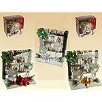 Idea Natale: PORTALUMINI in vetro con decoro BAMBOO natalizio 3COL ASS verif disp. Scatola regalo inclusa.15x9,5x16,5cm