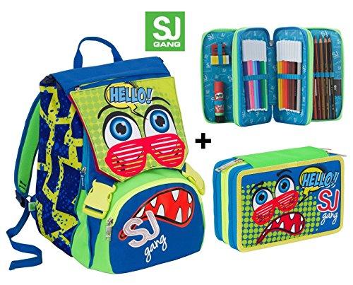 Zaino scuola sdoppiabile SJ GANG FACCINE - BOY - Blu Verde Rosso - + Astuccio 3 zip - FLIP SYSTEM - 28 LT elementari e medie 3 pattine sfogliabili