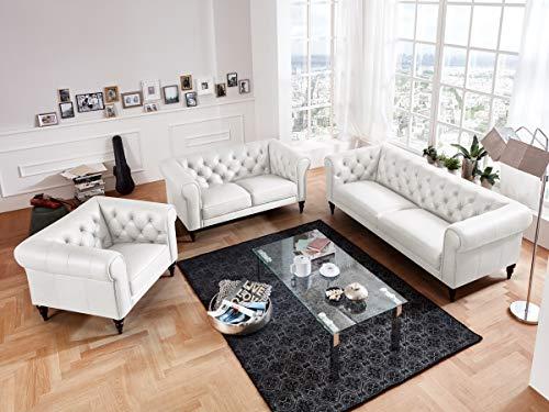 Leder Sitzgarnitur Sofa (Moebella Leder Chesterfield Sofas 3-2-1-Sitzer Sitzgarnitur Couch Hudson Voll-Leder Massivholz Füße mit Knopfheftung (Weiß))