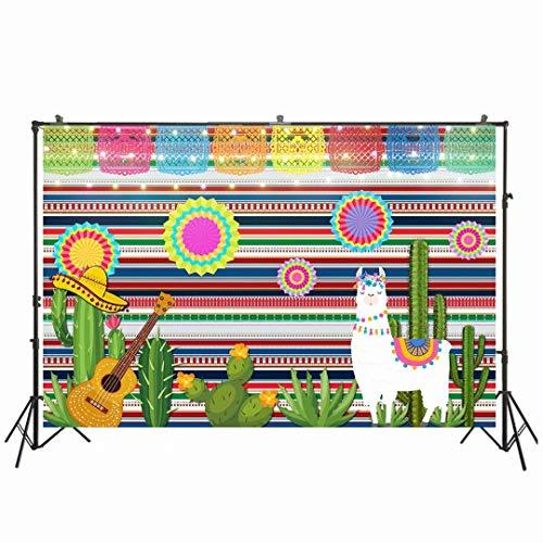 NIVIUS PHOTO 17,78 x 1,52 m Fiesta Thema, Fotografie Hintergrund mexikanisches Kleid Fotobooth für Sommer Fiesta Cinco De Mayo Geburtstag Pool Party Supplies Dekorationen W-1962