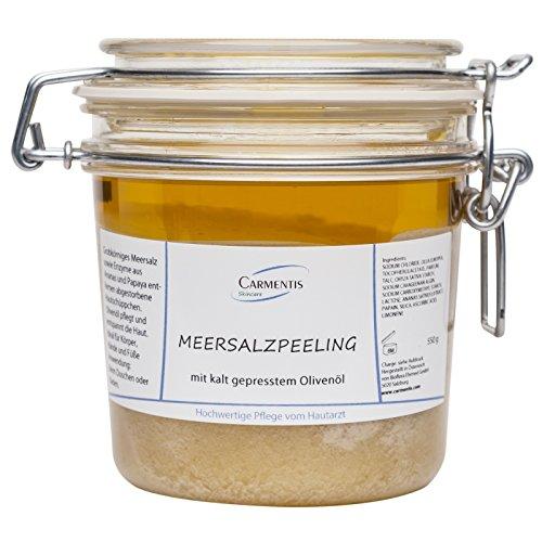 Carmentis Meersalzpeeling - mit kaltgepresstem Ölivenöl, Enzymen aus der Papaya und Ananas, für ein wirksames Körperpeeling bei Reibeisenhaut, Juckreiz, Psoriasis, rissigen Händen und Füßen, 550g -