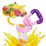 Tinabless Fruchtsauger, Silikon Schätzchen Schnuller für Obst und Gemüse für Babys 6-12 Monate, Bpa Frei,Rosa