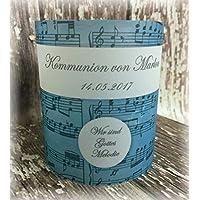 4er Set Tischlicht Tischlichter Kommunion Konfirmation Jugendweihe Taufe Musik Melodie Deko Tischdeko personalisierbar türkisblau blau