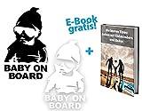2er Set Baby on Board Sticker + GRATIS e-Paper. 2er Set Baby on Board Autoaufkleber schwarz und weiß von finest-automobile.