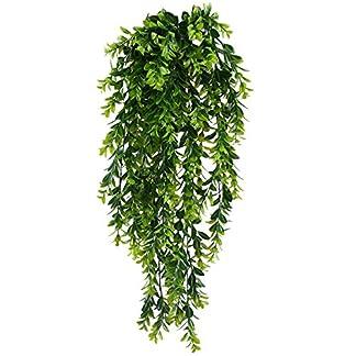 MIHOUNION Falso colgante de plantas 2PCS Plástico falso que cuelga el verdor Planta de la hoja UV Cortijo Plantas artificiales de Cubierta para la en el hogar Estantería Pared Interior Exterior